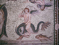 Roman Mosaic - close up of Eros riding a dolphin. The Oceanos &amp; Tethys Mosaic, fom The House of Oceanos, Zeugma.  2nd - 3rd century AD. Zeugma Mosaic Museum, Gaziantep, Turkey.<br /> <br /> The Oceanos and Tethys Mosaic is the floor mosaic of the shallow pool of the House of Oceanos. In this mosaic, which belongs to the Early Roman Empire Period, Oceanos, the river god who is the origin of life, and his wife Tethys are represented. At the middle of the mosaic which is surrounded by a geometric triple tress borders there are Oceanos and his wife Tethys. Around them there are Eros figures riding various species of fish and dolphins symbolising the abundance of the sea. The most represented attributes of Oceanos are snake and fish.