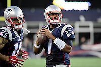 Thursday August 11, 2016: New England Patriots quarterback Jacoby Brissett (7) warms up during an NFL pre-season game between the New Orleans Saints and the New England Patriots held at Gillette Stadium in Foxborough Massachusetts. The Patriots defeat the Saints 34-22 in regulation time. Eric Canha/CSM