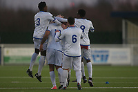 Romford celebrate their second goal scored by Jay Knight during Grays Athletic vs Romford, Bostik League Division 1 North Football at Parkside on 1st January 2018