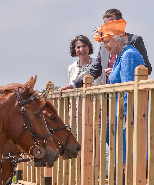 25 May 2017 - Queen Elizabeth II visits one of the Duchy of Lancaster Farms where she met tenants John and Victoria Coupland and young Equestrians at the Eland Lodge Equestrian centre in Staffordshire. Photo Credit: ALPR/AdMedia