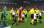 Jordan Henderson of Liverpool leads the team out during the Champions League Semi Final 1st Leg match at Anfield Stadium, Liverpool. Picture date: 24th April 2018. Picture credit should read: Simon Bellis/Sportimage