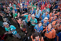 Happy scouts at the front row at the IST welcoming show late in the evening the day before the participants arrive. Photo: Eric Hampusgård/Scouterna