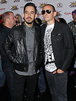 LOS ANGELES, CA, USA - APRIL 23: Mike Shinoda, Chester Bennington at the 2014 Revolver Golden Gods Award Show held at Club Nokia on April 23, 2014 in Los Angeles, California, United States. (Photo by Xavier Collin/Celebrity Monitor)