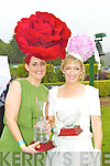 Joann Murphy, Kilgarvan, winner of best hat award and Queen of fashion runner up Elaine Kelliher, Kilgarvan at Killarney races ladies day on Thursday.