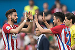 Yannick Ferreira Carrasco (L)  of Atletico de Madrid reacts with Nicolas Gaitan (R) of Atletico de Madrid during their La Liga match between Atletico de Madrid vs Athletic de Bilbao at the Estadio Vicente Calderon on 21 May 2017 in Madrid, Spain. Photo by Diego Gonzalez Souto / Power Sport Images
