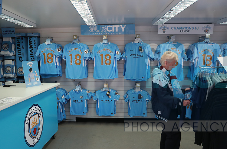 Champions merchandise on sale during the premier league match at the Etihad Stadium, Manchester. Picture date 22nd April 2018. Picture credit should read: Simon Bellis/Sportimage