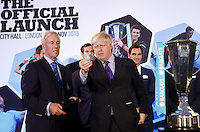 The Top 8 players in the world attend the draw with London Mayor Boris Johnson at the Official Launch of the ATP World Tour Finals at City Hall, London, 2015