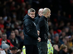 Ole Gunnar Solskjaer manager of Manchester United shakes hands on the final whistle with Josep Guardiola manager of Manchester City during the Carabao Cup match at Old Trafford, Manchester. Picture date: 7th January 2020. Picture credit should read: Darren Staples/Sportimage