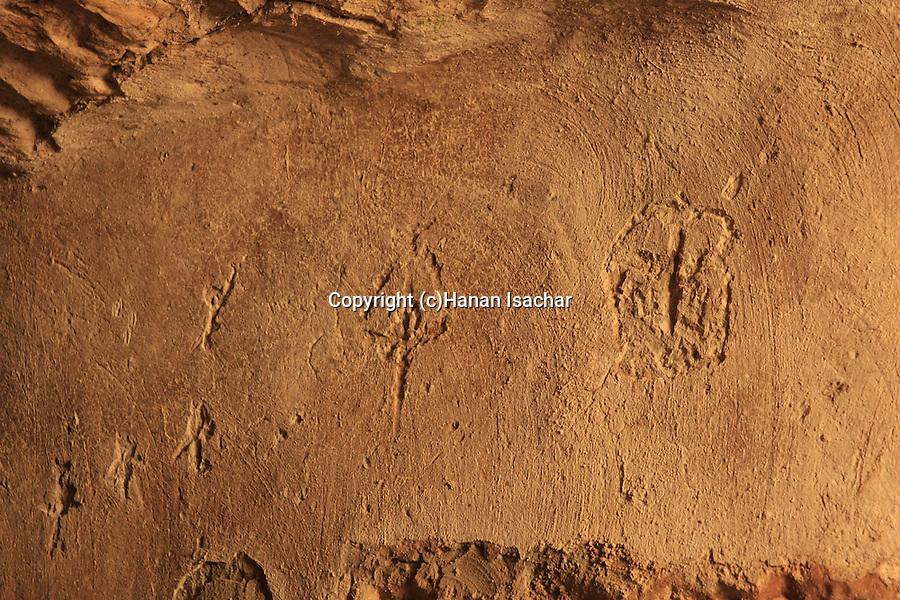 Israel, Jerusalem Mountains, carved drawing in the Cave of John the Baptist by kibbutz Tzuba near Ein Karem.