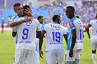 SANTA MARTA – COLOMBIA, 29-09-2019: Luis Sandoval (#9) del Junior celebra después de anotar el primer gol de su equipo durante el partido por la fecha 13 de la Liga Águila II 2019 entre Unión Magdalena y Atlético Junior jugado en el estadio Sierra Nevada de la ciudad de Santa Marta / Luis Sandoval (#9) of Junior celebrates after scoring the first goal of his team during match for the date 13 as part Aguila League II 2019 between Union Magdalena and Atletico Junior played at Sierra Nevada stadium in Santa Marta city. Photo: VizzorImage / Gustavo Pacheco / Cont