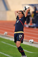 Meghan Schnur takes a throw in vs. Iceland.  The USWNT defeated Iceland (2-0) at Vila Real Sto. Antonio in their opener of the 2010 Algarve Cup on February 24, 2010.