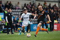 Scott Kashket of Wycombe Wanderers and Charlie Clough of Barnet during the Sky Bet League 2 match between Barnet and Wycombe Wanderers at The Hive, London, England on 17 April 2017. Photo by Andy Rowland.