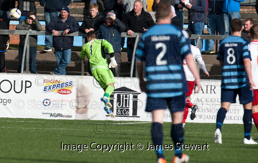 Stranraer keeper David Mitchell can't stop Forfar's Gavin Swankie's (not in picture) shot from hitting the back of the net.