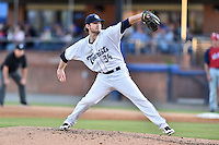 Asheville Tourists starting pitcher David Hill (34) delivers a pitch during a game against the Hagerstown Suns at McCormick Field on June 8, 2016 in Asheville, North Carolina. The Tourists defeated the Suns 10-8. (Tony Farlow/Four Seam Images)