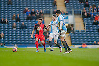 BLACKBURN, ENGLAND - JANUARY 24:    Angel Rangel of Swansea City and Craig Conway of Blackburn Rovers during the FA Cup Fourth Round match between Blackburn Rovers and Swansea City at Ewood park on January 24, 2015 in Blackburn, England.  (Photo by Athena Pictures/Getty Images)