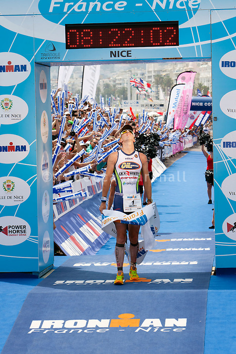 Triathlete Frederik Van Lierde wins Ironman France 2012, Nice, France, 24 June 2012. Frederik broke the course record, finishing in 8:21:50.