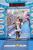 Triathlete Frederik Van Lierde wins Ironman France 2012, Nice, France, 24 June 2012. Frederik broke the course record, finishing in 8:21:50.