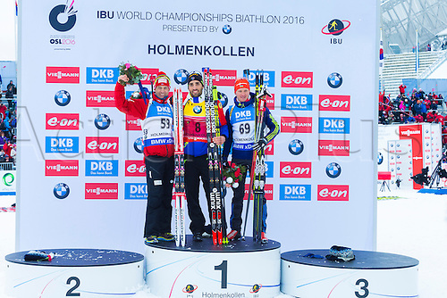 05.03.2016. Oslo Holmenkollen, Oslo, Norway. IBU Biathlon World Championships.L.R  Ole Einar Bjoerndalen of Norway second place,  Martin Fourcade of France first place and  Sergey Semenov of Ukraine third place in the men 10km sprint competition during the IBU World Championships Biathlon in Holmenkollen Oslo, Norway.
