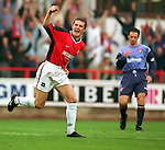 Barry Ferguson celebrates scoring for Rangers as brother Derek Ferguson hands his head at East Ens Park, season 1998-99