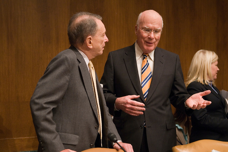 "Arlen Specter,R-PA., and Patrick Leahy,D-VT., during a full committee hearing on ""Paying Off Generics to Prevent Competition with Brand Name Drugs."