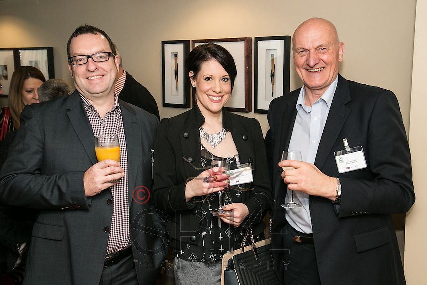 All smiles from left are Nick Gregory, CPMG, Chrissie Rowell of Freestyle Marketing Company and John Dabrowski, JD Mindcoach