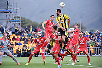 Andrew Durante in action during the A League - Wellington Phoenix v Adelaide United at Hutt Recreational Ground, Lower Hutt, New Zealand on Saturday 7 March 2015. <br /> Photo by Masanori Udagawa. <br /> www.photowellington.photoshelter.com.