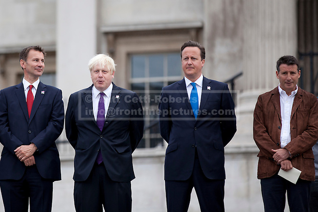 24/08/2012. LONDON, UK. Jeremy Hunt, the Secretary of State for Culture, Olympics, Media and Sport (L), Boris Johnson, the Mayor of London (2L), David Cameron, the British Prime Minister (3L) and LOCOG Chairman Sebastian Coe are seen at the lighting of the Paralympic Cauldron in Trafalgar Square in London  today (24/08/12)a. Photo credit: Matt Cetti-Roberts