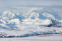 Fresh snow on the tundra and foothills of Mt. Denali, Denali National Park, Alaska