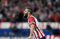 Atletico de Madrid's Arda Turan celebrates goal during Champions League 2013/2014 match.March 11,2014. (ALTERPHOTOS/Acero)