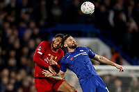 3rd March 2020; Stamford Bridge, London, England; English FA Cup Football, Chelsea versus Liverpool; Joe Gomez of Liverpool competes for the ball with Olivier Giroud of Chelsea