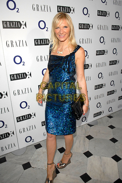 JO WHILEY.The Grazia O2 Awards, Sunbeam Studio, London, England. .July 19th, 2007.full length blue sparkly shimmer dress platform clutch purse silver shoes .CAP/FIN.©Steve Finn/Capital Pictures