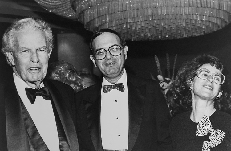 Former Rep. Richard Walker Bolling, D-Mo., Rep. Martin Frost, D-Tex., and wife Valerie Frost, at the Claude Pepper Foundation Dinner, on Sep. 28, 1989. (Photo by Maureen Keating/CQ Roll Call via Getty Images)