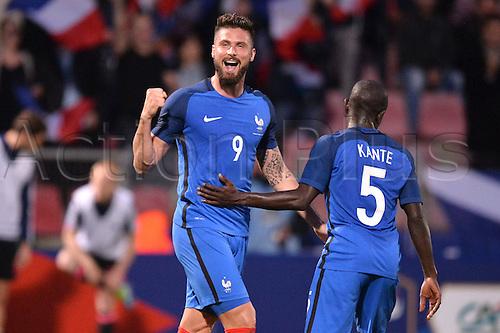 04.06.2016. Stade Saint Symphorien, Metz, France. International football freindly,France versus Scotland.  OLIVIER GIROUD celebrates his goal