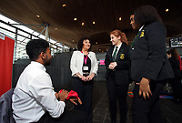 L-R Rafael Fernandez from the Cardiff Youth Council, Caroline Jones AM, Lauren Thomas and Sherry Gakumga both from the Cardiff Youth Council