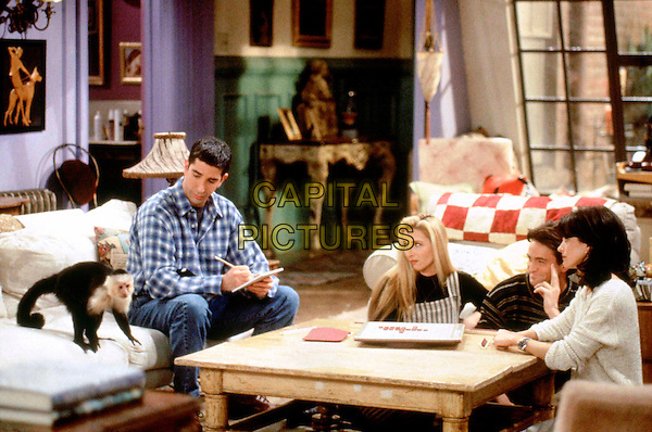 "DAVID SCHWIMMER, LISA KUDROW, MATTHEW PERRY & COURTENEY COX ARQUETTE.in Friends.Season 1.""The One With The Two Parts, Part 2"" .Filmstill - Editorial Use Only.courtney.Ref: FB.www.capitalpictures.com.sales@capitalpictures.com.Supplied by Capital Pictures"
