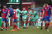 Steven Rigg of Gateshead scores the first goal for his team from the penalty spot during Dagenham & Redbridge vs Gateshead, Vanarama National League Football at the Chigwell Construction Stadium on 16th February 2019