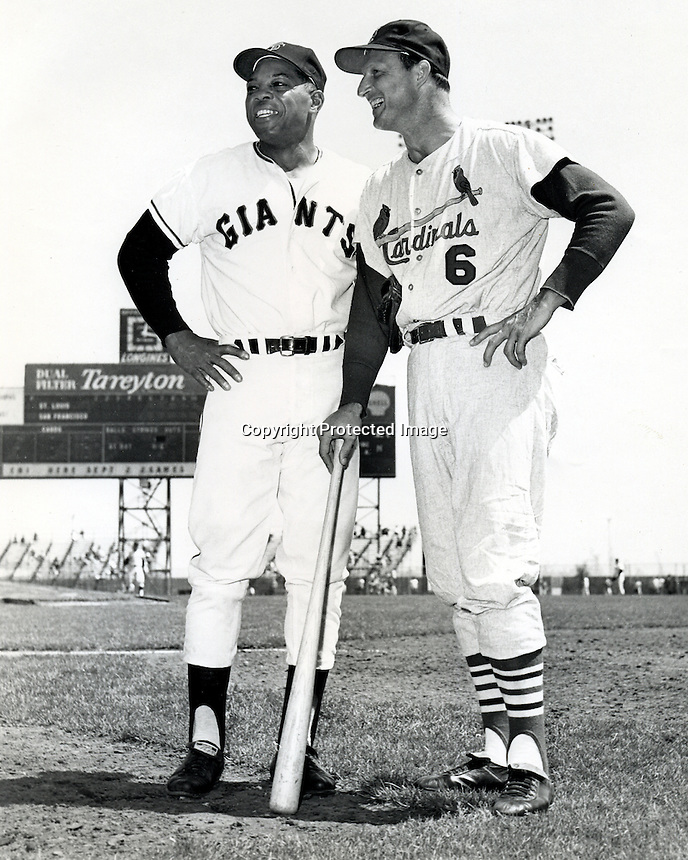 "San Francisco Giants Willie Mays and St.Louis Cardinals Stan ""The Man"" Musial talking before the Giants Cardinal game at Candlestick Park in San Francisco. (1961 photo by Ron Riesterer)"