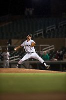 Salt River Rafters relief pitcher Tommy Eveld (33), of the Miami Marlins organization, delivers a pitch during an Arizona Fall League game against the Scottsdale Scorpions at Salt River Fields at Talking Stick on October 11, 2018 in Scottsdale, Arizona. Salt River defeated Scottsdale 7-6. (Zachary Lucy/Four Seam Images)