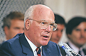 United States Senator Patrick Leahy (Democrat of Vermont) makes an opening statement during the hearing before the US Senate Judiciary Committee to confirm Judge Clarence Thomas as Associate Justice of the US Supreme Court in the US Senate Caucus Room in Washington, DC on September 10, 1991.  Thomas was nominated for the position by US President George H.W. Bush on July 1, 1991 to replace retiring Justice Thurgood Marshall.<br /> Credit: Arnie Sachs / CNP