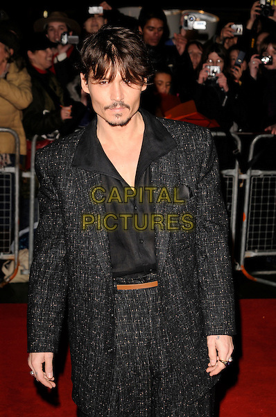 """JOHNNY DEPP.""""Sweeney Todd: The Demon Barber of Fleet Street"""" European film premiere, Odeon cinema, Leicester Square, London, England..January 10th, 2008 .half length grey gray tweed suit goatee facial hair .CAP/CAN.©Can Nguyen/Capital Pictures"""