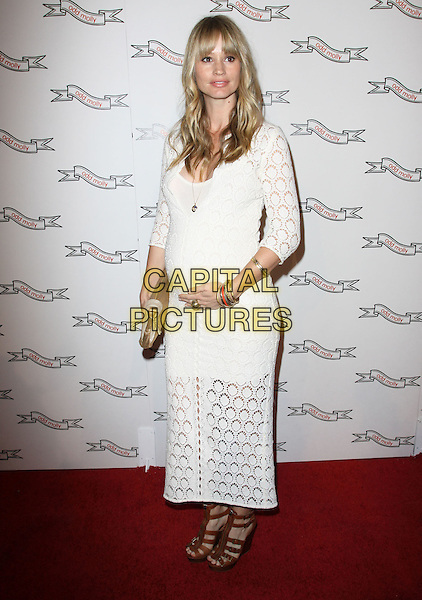 CAMERON RICHARDSON .Odd Molly Flagship Store Opening held At Odd Molly Boutique, Beverly Hills, California, USA, 19th March 2010..full length white long maxi dress  beige brown clutch bag sandals crochet pregnant maternity wedges .CAP/ADM/KB.©Kevan Brooks/AdMedia/Capital Pictures.