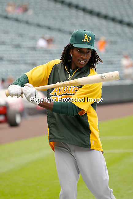 Oakland Athletics second baseman Jemile Weeks (19) prepares for the game against the Colorado Rockies.  The Athletics defeated the Rockies 10-8 on June 13, 2012, at Coors Field in Denver, Colorado. (AP Photo/Margaret Bowles)