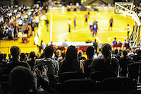 Fans watch the national basketball league match between Wellington Saints and Canterbury Rams at TSB Bank Arena, Wellington, New Zealand on Monday, 6 April 2015. Photo: Dave Lintott / lintottphoto.co.nz