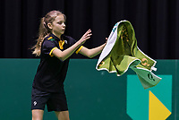 Rotterdam, Netherlands, 11 februari, 2018, Ahoy, Tennis, ABNAMROWTT, Practise, Ballgirl caching a towel from a player<br /> Photo: Henk Koster/tennisimages.com