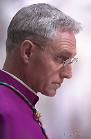 Monsignor Georg Gaenswein .Pope Francis, during the Easter vigil mass in Saint Peter's Basilica, in the Vatican,.April 15,2017