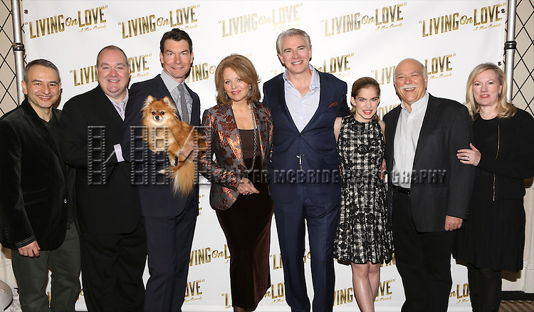 Playwright Joe DiPietro, Blake Hammond, Jerry O'Connell, Trixie, Renee Flemming, Douglas Sills, Anna Chlumsky, Scott Robertson and director Kathleen Marshall attends the 'Living on Love' photo call at the Empire Hotel on March 12, 2015 in New York City.
