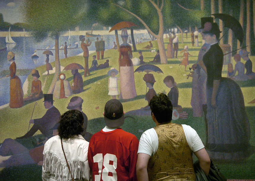 The three get a close look at Afternoon on the Island of Grand Jatte, Georges Seurat9/28/05 charles osgood - §Tribune reporters Jason George, Josh Noel (in red) and Erika Slilfe retrace the steps of three high schools kids in the movie Ferris Bueller's Day Off on the 20th anniversary of it's filming. They revisit Glenbrook High School, the Sears Tower, lunch (not) at Chez Louis, go to a Cubs game, the Art Institute, and a beach in Glencoe. ..OUTSIDE TRIBUNE CO.- NO MAGS,  NO SALES, NO INTERNET, NO TV.. Chicago Tribune Photo by Charles Osgood 00250482A ferrisbueller