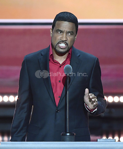 Darrell Scott, Senior Pastor New Spirit Revival Center Ministries, makes remarks at the 2016 Republican National Convention held at the Quicken Loans Arena in Cleveland, Ohio on Wednesday, July 20, 2016.<br /> Credit: Ron Sachs / CNP/MediaPunch<br /> (RESTRICTION: NO New York or New Jersey Newspapers or newspapers within a 75 mile radius of New York City)