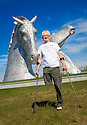 Dr Bob Grant, who lost his leg to cancer, launches the fundraising drive for his 117-mile walk for Maggie's at the Kelpies......<br />