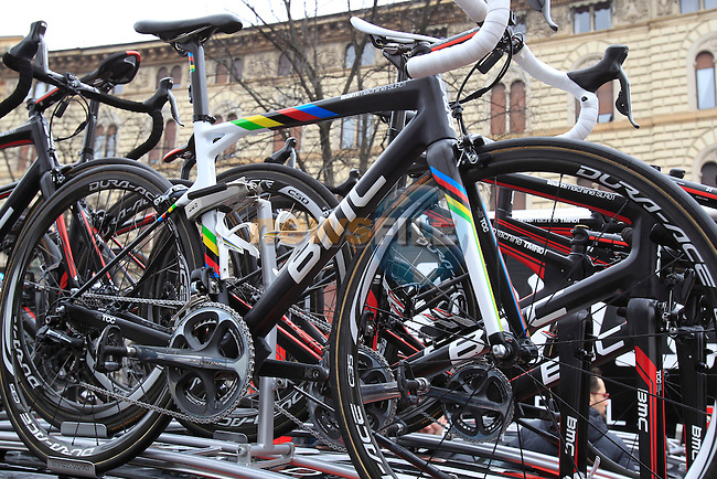 World Champion Philippe Gilbert's spare BMC Racing Team bike lined up at the start of the 104th edition of the Milan-San Remo cycle race at Castello Sforzesco in Milan, 17th March 2013 (Photo by Eoin Clarke 2013)